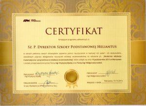 Certyfikat Skuteczna Edukacja Matematyczno Przyrodnicza wedukacji wczesnoszkolnej