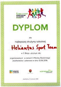 Heliantus Sport Team - Dyplom dla najlepszej drużyny wBiegu Ulicznym